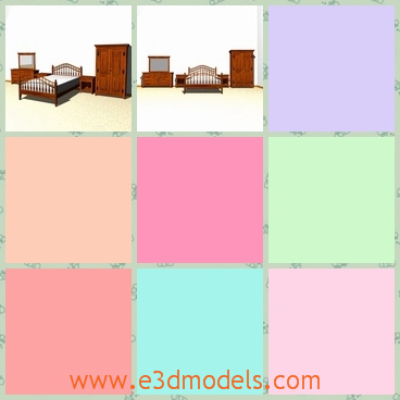 3d model the bedroom with furniture - This is a 3d model of the bedroom with furniture,which includes the nightstand,the dresser,the mirror and the bed.