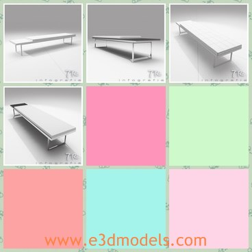 3d model the bench - This is a 3d model of the modern bench,which is textured and long.The legs of the bench is made of stainless steel materials.