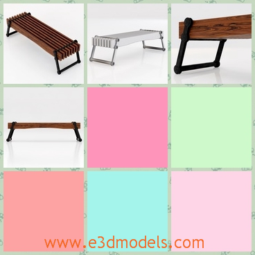 3d model the bench - This is a 3d model of the bench on the floor,which is long and made of wood and steel.The model is narrow but solid.