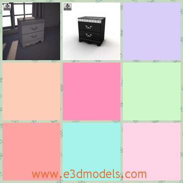 3d model the black nightstand - This is a 3d model of the black nightstand,which is not including the lighting setup, but alive with ornate detailing and a rich traditional beauty.