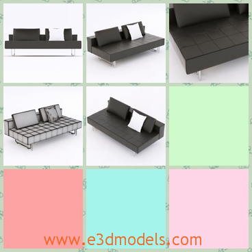 3d model the black sofa - This is a 3d model of a black sofa,which is also called the daybed sofa,because is can also be used as the bed in the daytime.