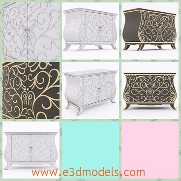 3d model the cabinet with fine decorations - This is a 3d model of the cabinet with fine decorations on it,which is fine and modern.The model is created by a famous creator.