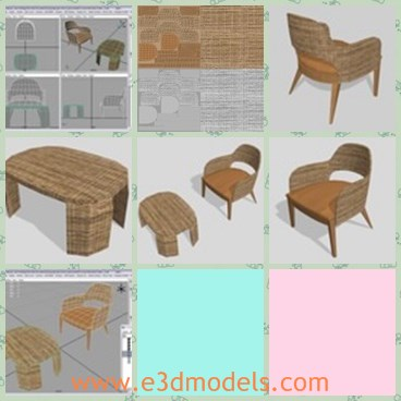 3d model the chair and table made of wicker - This is a 3d model of the chair and table,which are made of wickers.The model is created in the old shape and which is also popular in the family.