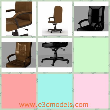 3d model the chair in the office - This is a 3d model of the chair in the office,which is covered with the leather materials and the back is comfortable.