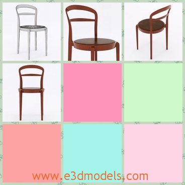 3d model the chair in wood - This is a 3d model of the wooden chair,which is the side chair and be put beside the dining table.
