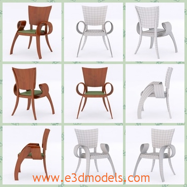 3d model the chair made in wood - This is a 3d model of the chair made in wood,which is a single one and it is the modern armchair.