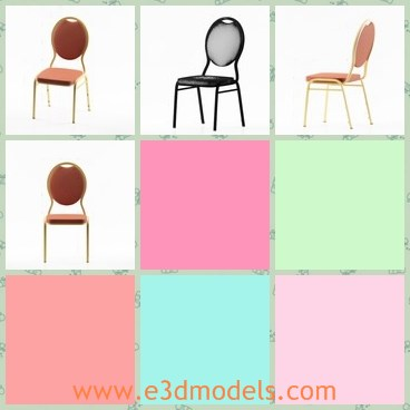 3d model the chair with leather surface - This is a 3d model of the chair with leather surface,which is common and soft to sit on.The chair is stackable and popular in life.