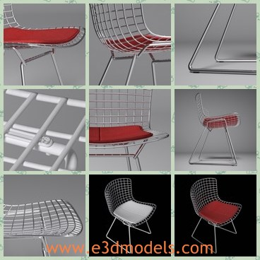 3d model the chair with the hollow back - This is a 3d model of the chair with the hollow back,which is modern and fabric.The model is red and modern.