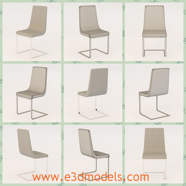 3d model the chair with the tilted leg - This is a 3d model of the chair with the tilted leg,which is white and light.The model is placed in the office and can be easily to move.