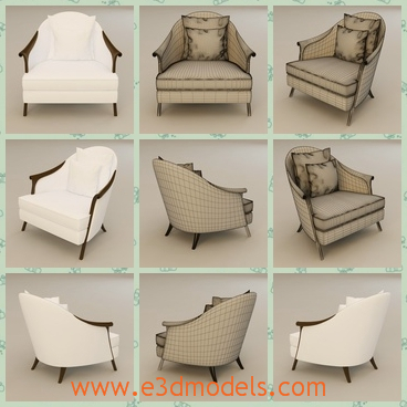 3d model the chair with tilted legs - This is a 3d model of the chair  with tilted legs,which are white and small.The model is suitable for one person.