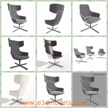 3d model the chair with wings - This is a 3d model of the chair with wings,which is black and the holder of the chair is a cross-shape.