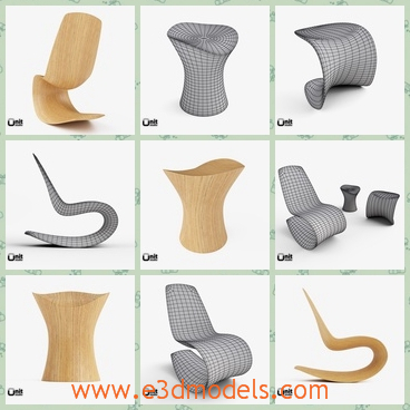 3d Model The Chairs In Different Shapes