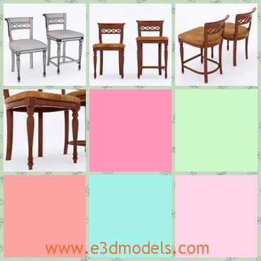 3d model the chairs made in wood - This is a 3d model of the chairs made in wood,which is high and can be used as the stool in the room.