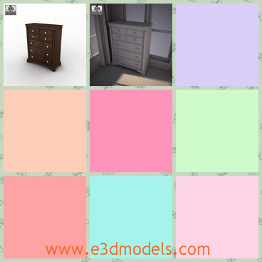3d model the chest in dark brown - This is a 3d model of the chest in dark brown,which is made in wood and the model is special and glorious.