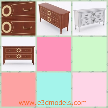3d model the chest of drawers - This is a 3d model of the chest of drawers in the room,which is large and heavy.The model has the round symbols on it.