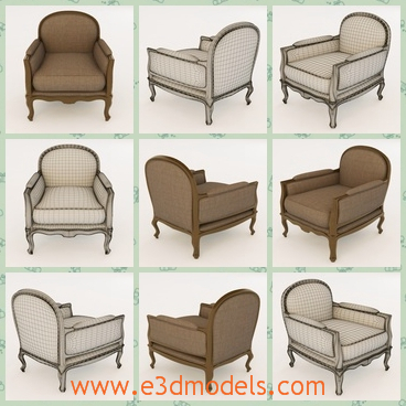 3d model the classical armchair - This is a 3d modelof the classical armchair,which is antique and classical.The model is made in the ancient times.