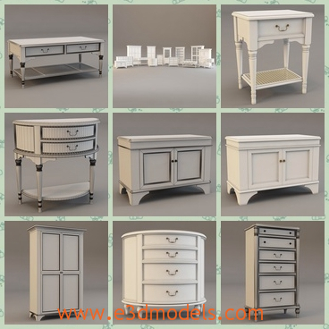 3d model the collection of furniture - This is a 3d model of the collection of furniture,which are white and pretty.There are armoire,bedstand,desk and cabinet.