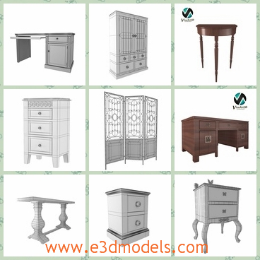 3d model the collection of furnitures - This is a 3d model of the collection of furnitures,which includes the chair,the table,the desk,the cabinet and the screen.