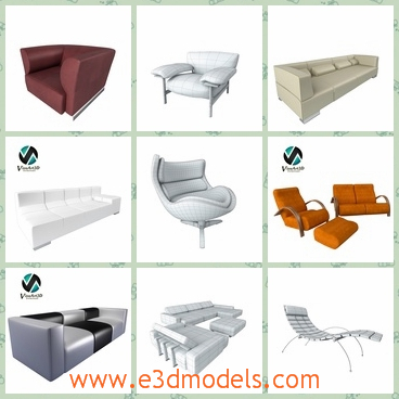 3d model the collection of sofa - This is a 3d model of the collectiong of sofa,which are mostly made of leather materials and the shapes are cute and modern.
