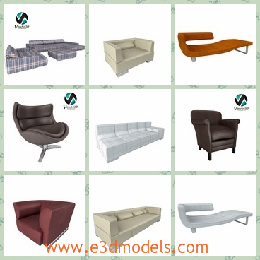 3d model the collection of sofas - This is a 3d model of the collection of sofas,which are suitable for high detailed interior visualisations.