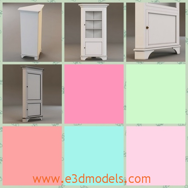 3d model the corner cabinet - This is a 3d model of the cornet cabinet,which has a transparent upper part.The model is a realistic furniture.