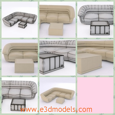 3d model the corner sofa - This is a 3d model of the corner sofa,which is placed in the corner of the living room,and there is a footstool in the front of the couch.