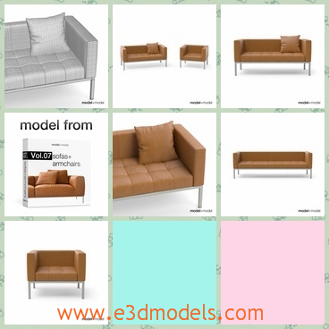 3d model the couch with leather cover - This is a 3d model of the couch with leather cover,which is made in high quality and the  model is one of other great models that goes together in the Vol.07 .