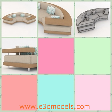 3d model the curved sofa - This is a 3d model of the curved sofa,which is designed specially,because the upper part is separated from the middle part.