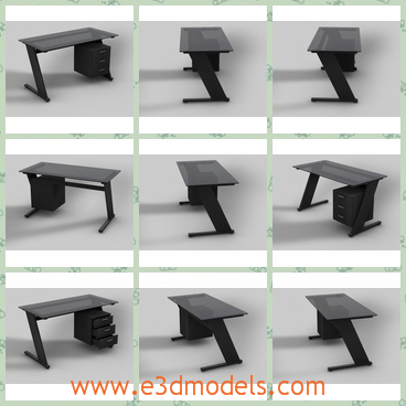 3d model the desk in the black - This is a 3d model of the desk in the balck,which is tilted and made with several drawers.
