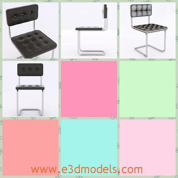 3d model the dining chair with black cover - This is a 3d model of the dining chair with black cover,which is thin but stable.The model is hold by a curved leg underneath.