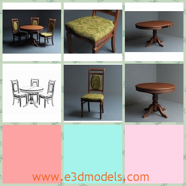 3d model the dining table and the chair - This is a 3d model of the dining table and chair,which is made in wood and the shapes are outdated.