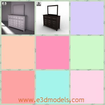 3d model the dresser in the bedroom - This is a 3d model about the dresser in the bedroom,which has many drawers with it and there is a mirror on it.