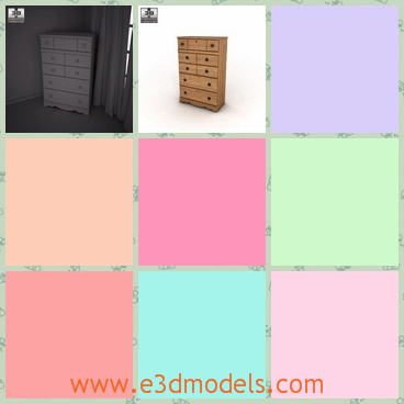 3d model the dresser-the chest - This is a 3d model of the chest,which has so many drawers with it and the body is large so it is placed in the corner of the room.