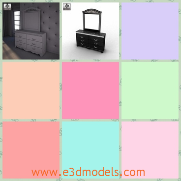 3d model the dresser with a mirror - This is a 3d model of the dresser with a mirror,which is black and made in ance with the proportions and sizes of real furniture.