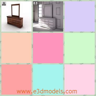 3d model the dresser with a mirror - This is a 3d model of the dresser with a mirror,which is placed besides the bed and the mirror is clean and tidy.