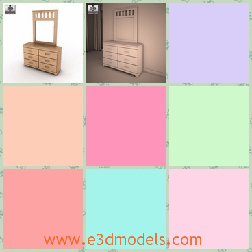 3d model the dresser with a mirror - This is a 3d model of the dresser with a mirror,which is large and the mirror is clean.The model is linked to the lower part.