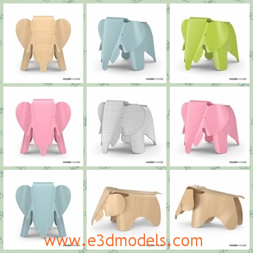 3d model the elephant stool - This is a 3d model of the elephant stool,which is made with plastic materials.The model is cute and convenient to carry.
