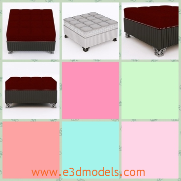 3d model the footstool in a square shape - This is a 3d model of the footstool in a square shape,which is covered with a sofa materials.