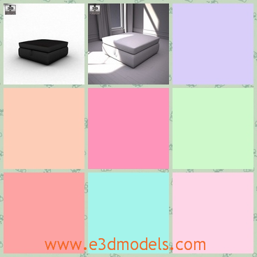 3d model the footstool in black - This is a 3d model of the footstool with the storage,which is black and the storage is spacious under the seat ofr magazines,toys,etc.