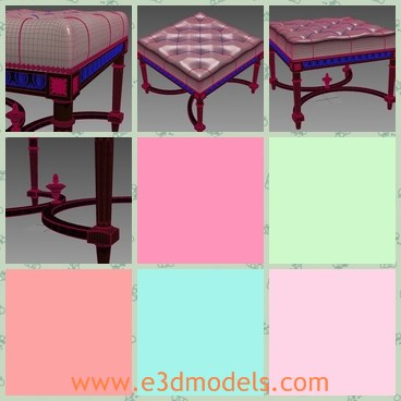 3d model the footstool with button - This is a 3d model of the footstool with button,which is covered with soft materials and special legs with decorations.