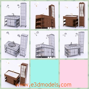 3d model the furniture in the bathroom - This is a 3d model of the furniture in the bathroom,which is modern and outstanding.THe model are presented in the market.