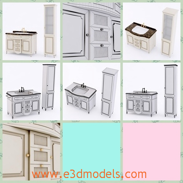 3d model the furniture of a home - This is a 3d model of the furniture of a home,which include the cabinet,the chest,and the bookcase.The sink in the bathroom is modern.
