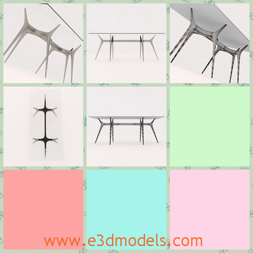 3d model the glass table - This is a 3d model of the glass table,which is modern and special.The model is hold by the sharp legs underneath.
