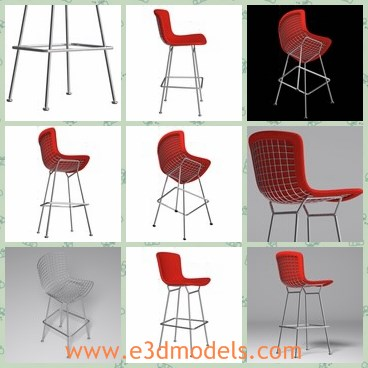 3d model the high chair - This is a 3d model of the high chair,which is modern and made in details.The chair has four long legs and the back and seat is red.