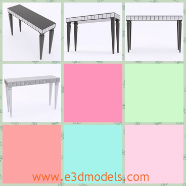 3d model the long table with four legs - This is a 3d model of the long table with four legs,which are special and outstanding.The model can be placed in the cornoer of a room.
