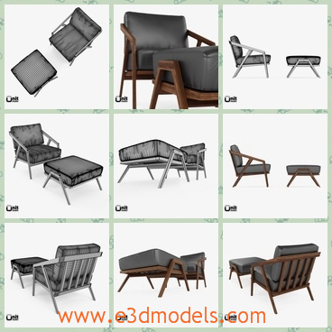 3d model the lounge chair - This is a 3d model of the lounge chair,which is covered with the leather materials.The chair is made with the wooden legs and back.