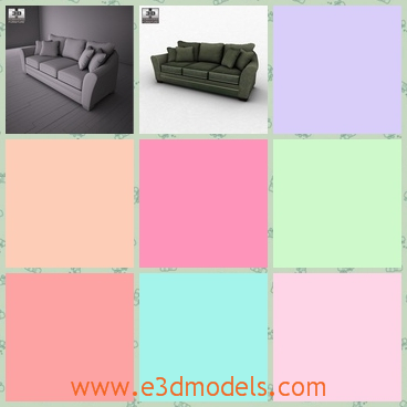 3d model the loveseat with five pillows - This is a 3d model of the loveseat with five pillows,which is grey and large.The model is outstanding and charming.