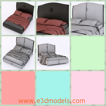 3d model the modern bed - This is a 3d model of the modern bed,which is covered by the black materials and the style is modern and stable.