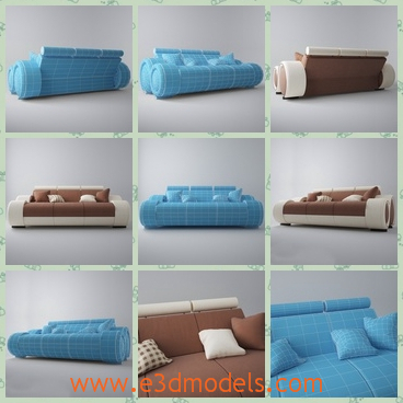 3d model the modern sofa in blue - This is a 3d model of the modern sofa in blue,which is long and presented with several pillows.The sofa is fine and preyyt good to put in the living room.