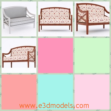 3d model the modern sofa with ornaments - This is a 3d model of the modern sofa with ornaments,which is a old fashioned furniture in the home.